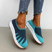 Ladies' Color Matching Flying Knit Casual Shoes