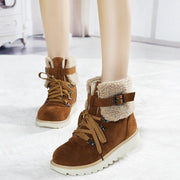 Women Synthetic Suede Warm Terry Lace-up Wearable Snow Boots
