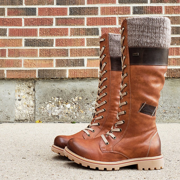 Women Winter Lace Up Knitted High Boots