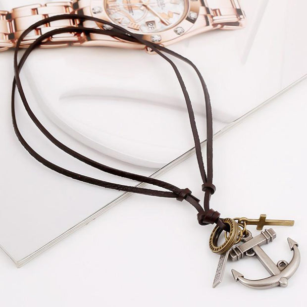 Anchor Leather Necklace