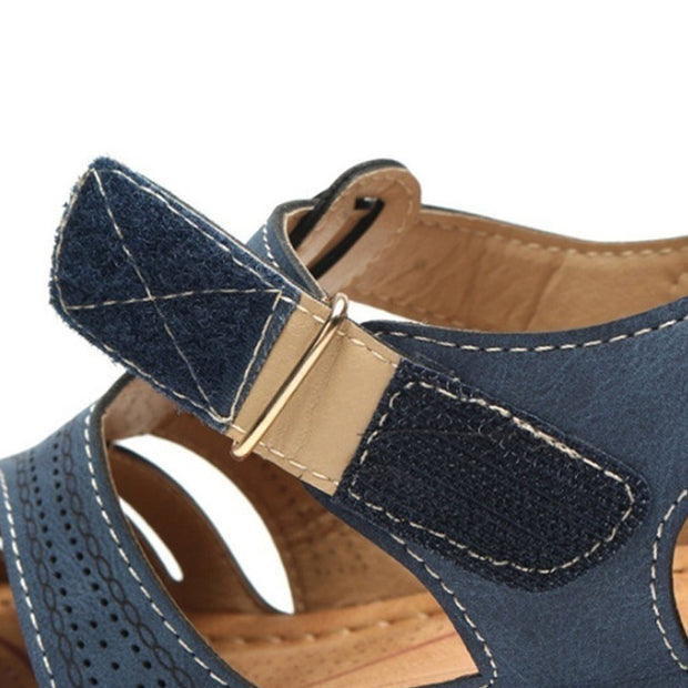 Women Casual Retro Style Buckle Wedges Sandals