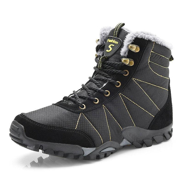 Men Outdoor Waterproof Non-slip Fur Lining Boots