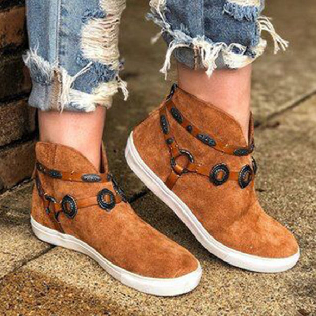 Women Suede Flats National Style Ankle Snow Boots