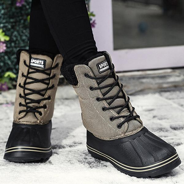 Women Casual Color Joint Warm Lined Snow Short Calf Boots