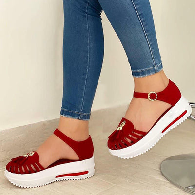 Women's Comfortable Platform Soft Sole Hollow-out Fringed Sandal