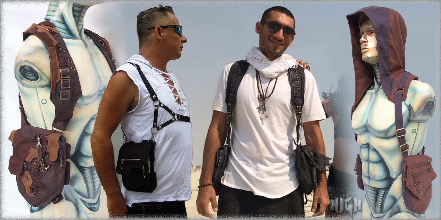mens apocalyptic burning man festival pocket shoulder holster bag for men