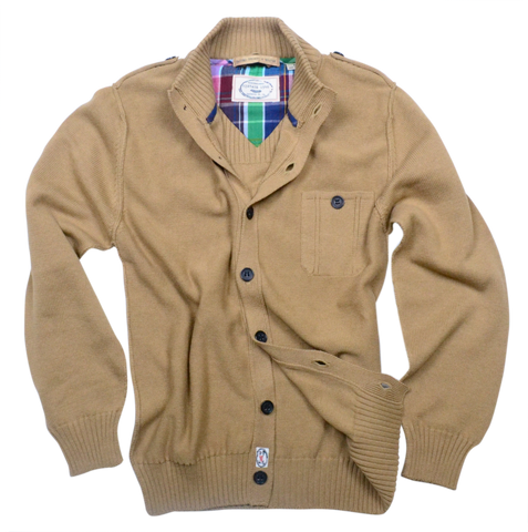 7 Gauge Retro Cardigan<br>Camel
