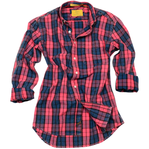 Oxford Washed Plaid<br> Red Coral