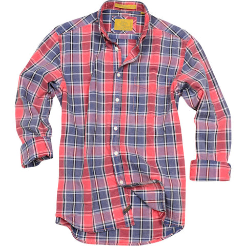 Acid Wash Oxford Shirt<br>Red