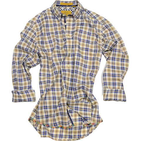 Twill Plaid Oxford Shirt<br>Tan
