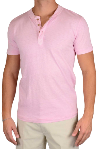 Negative Slub 3 Button Henley<br>Pink