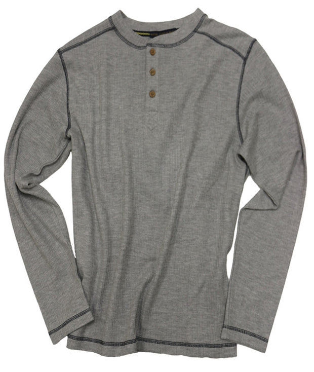 Drop Needle Henley<br>Light Grey