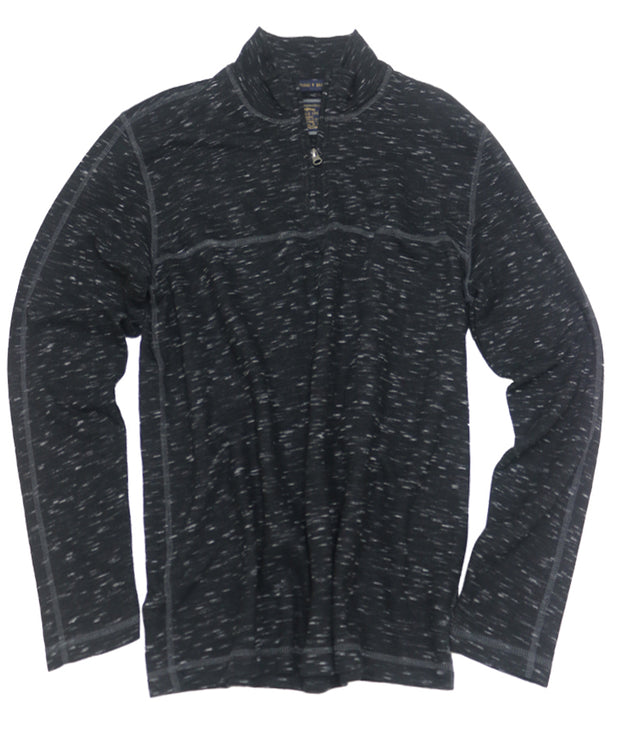 Space Dyed Jacquard Quarter Zip<br>Black