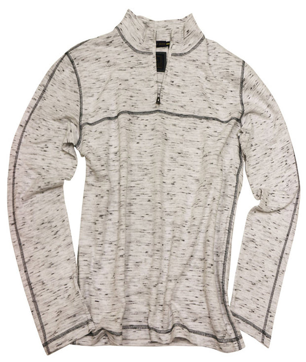 Space Dyed Jacquard Quarter Zip<br>Cream
