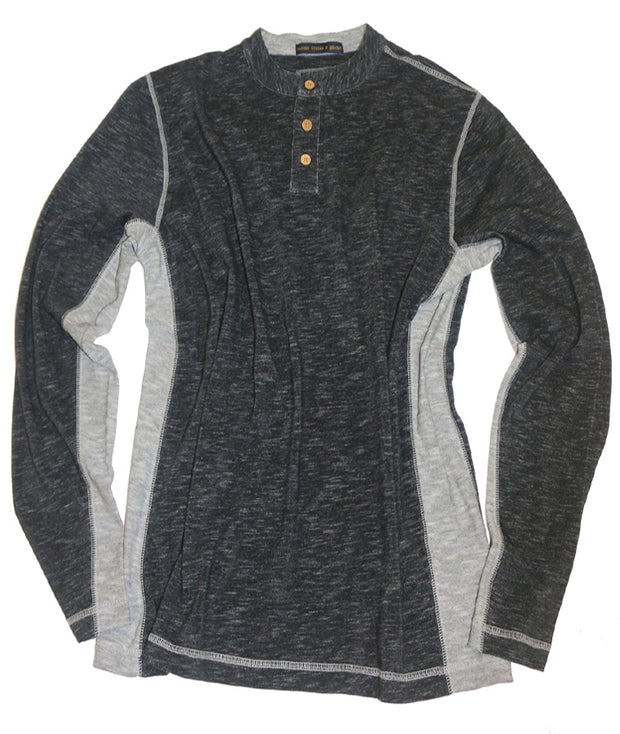 Space Dyed Color Block Henley<br>Charcoal/Grey