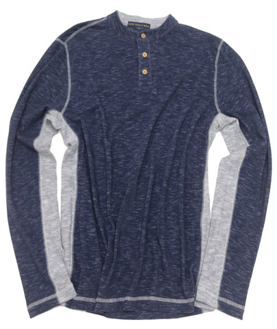 Space Dyed Color Block Henley<br>Blue/Grey