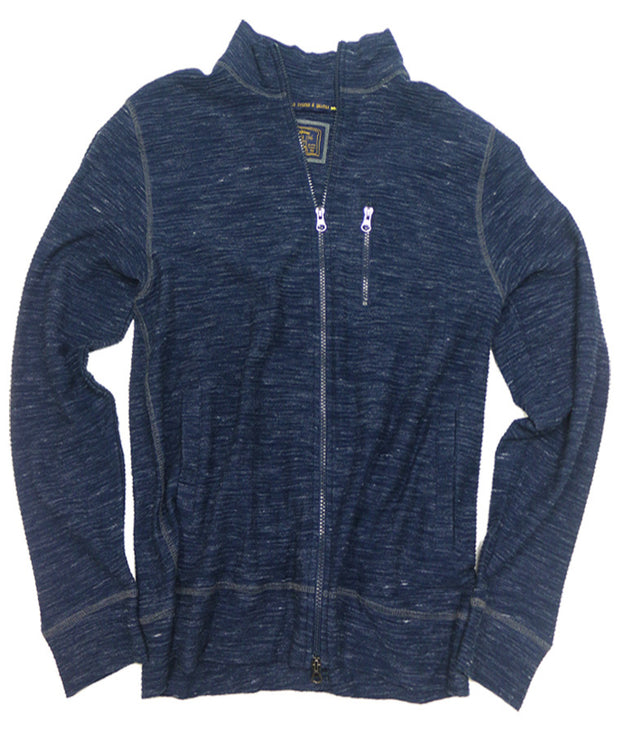Space Dyed Jacquard Full Zip Cardigan<br>Navy/Blue