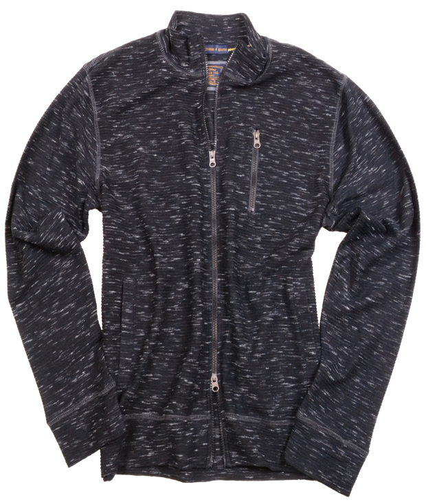 Space Dyed Jacquard Full Zip Cardigan<br>Black