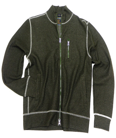French Terry Full Zip Cardigan<br>Army Green
