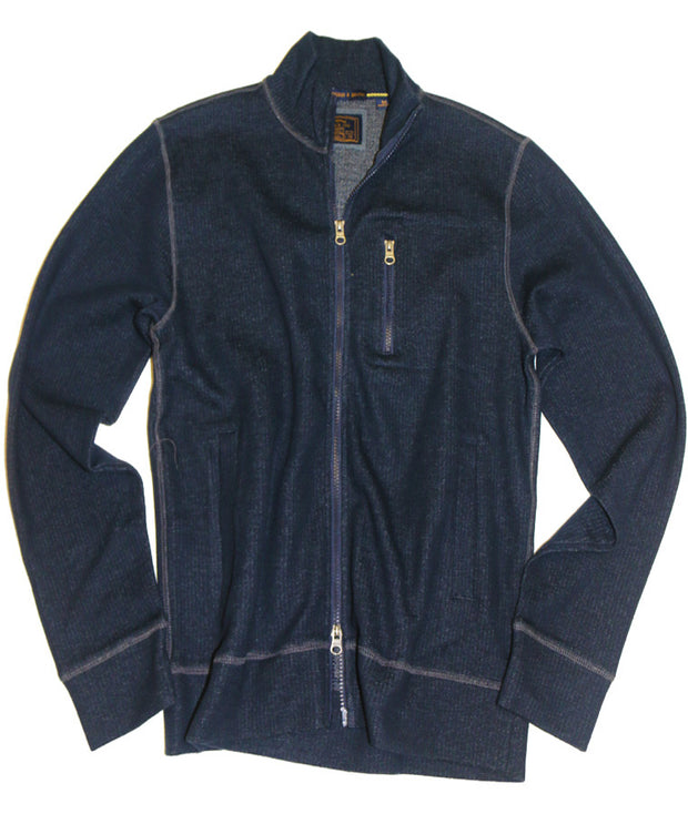 French Terry Full Zip Cardigan<br>Navy