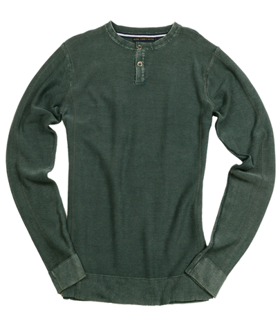Acid Washed 12 Gauge Henley Sweater<br>Army Green