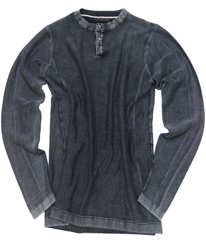Acid Washed 12 Gauge Henley Sweater<br>Blue Nights