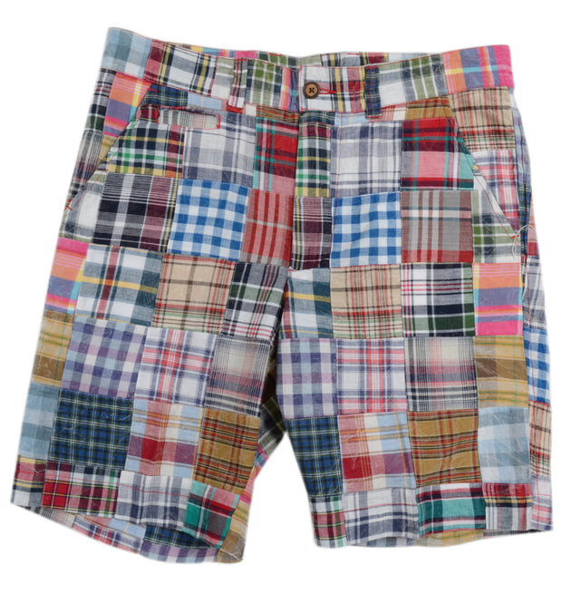 Patch Madras Short<br>Blue-Tan