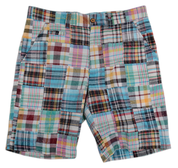 Patch Madras Short<br>Light Teal