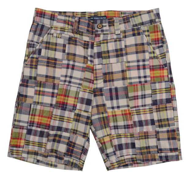 Patch Madras Short<br>Tan-Blue