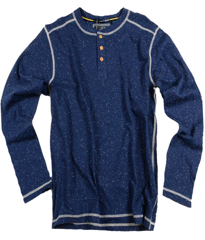 Speckled Jersey Henley<br>Navy