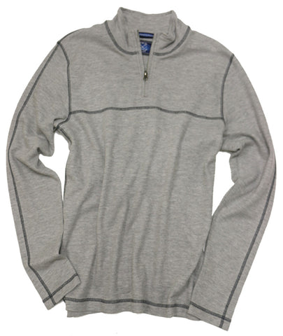 1x1 Rib Quarter Zip<br>Lt Grey