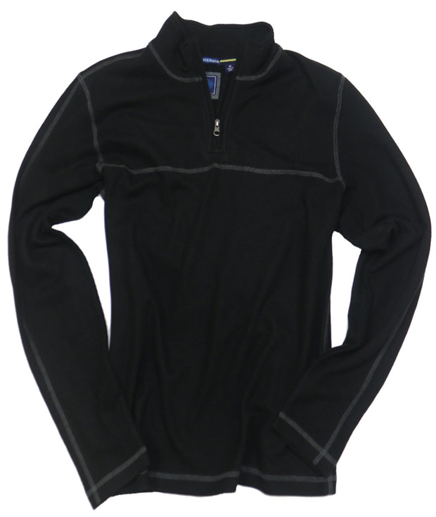 1x1 Rib Quarter Zip<br>Black