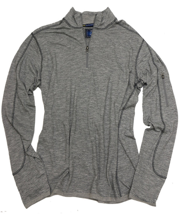 Space Dyed Mini Jacquard Quarter Zip<br>Grey