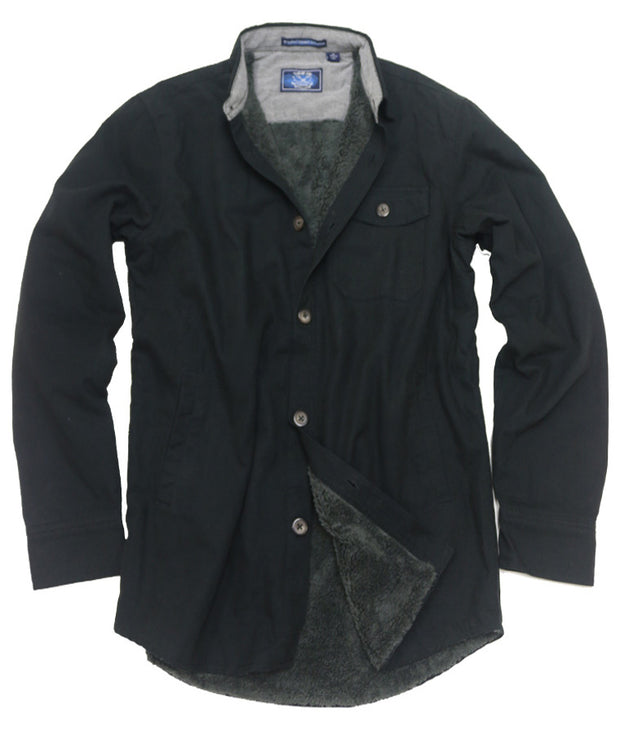 Sherpa Lined Washed Canvas Shirt Jacket <br> Black
