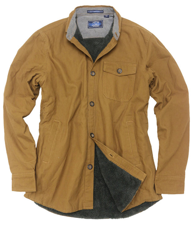 Sherpa Lined Washed Canvas Shirt Jacket <br> Brown