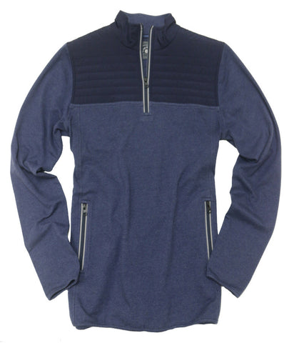 Quilted Stretch Jersey Quarter Zip<br>Blue/Dark Blue