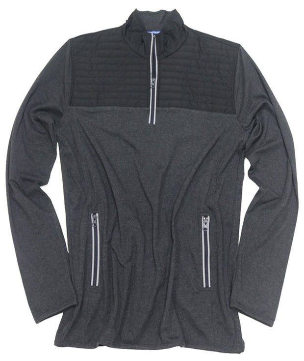 Quilted Stretch Jersey Quarter Zip<br>Charcoal/Black