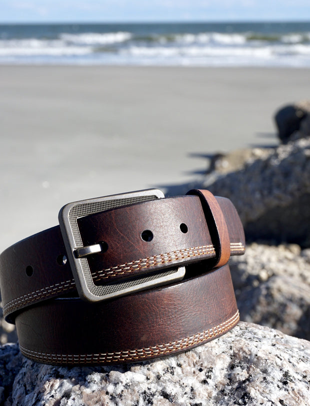 Bison Leather Casual Belt, Brass Buckle
