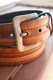 Bison Leather Casual Belt, Distressed Buckle