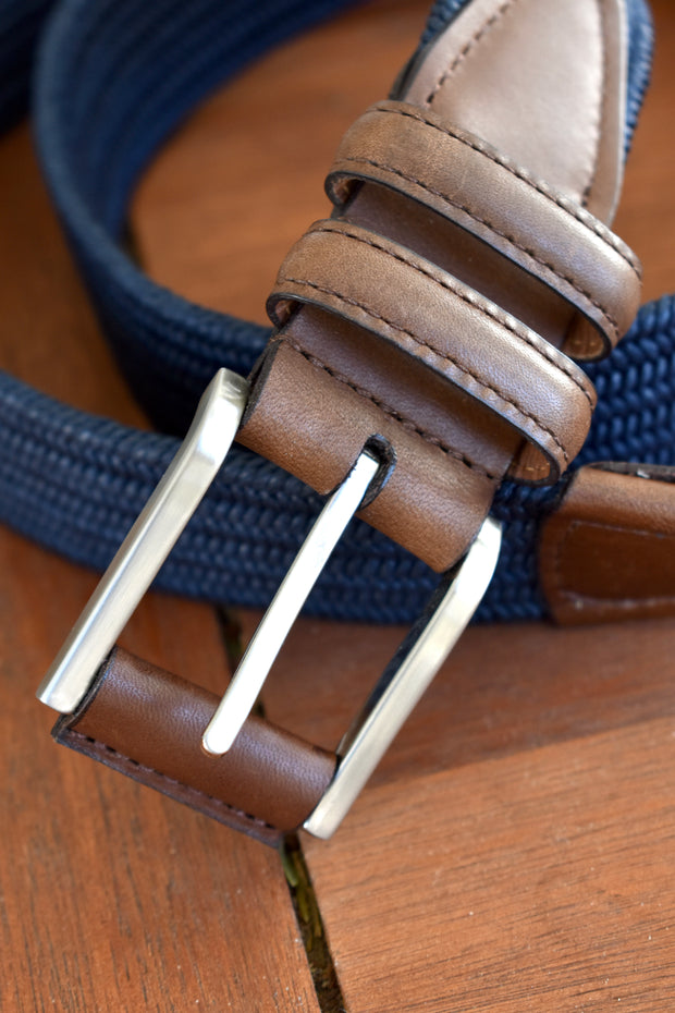 Italian Cotton Stretch Casual Belt, Navy