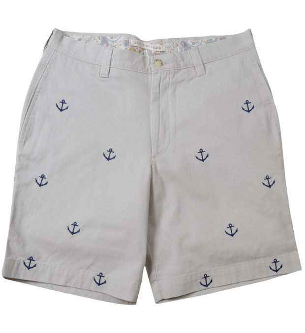 Embroidery Short<br>Anchor Print<br>Stone