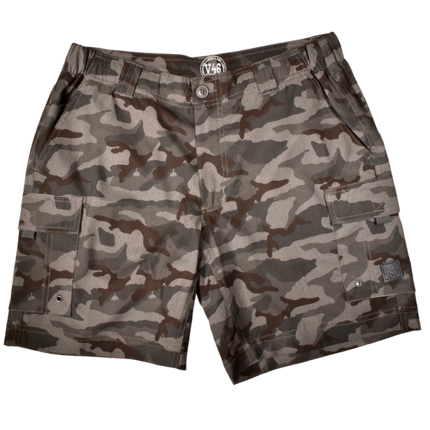 Camo Hybrid Fishing Short Grey