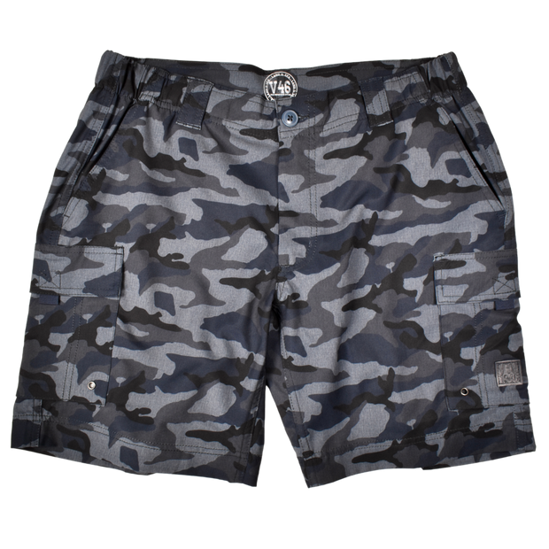 Camo Hybrid Fishing Short Navy