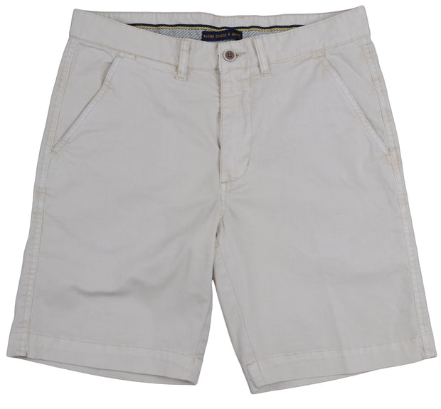 "Sunny Stretch Twill<br>Flat Front Short<br>Stone<br>9"" Inseam"