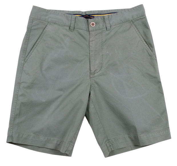 "Sunny Stretch Twill<br>Flat Front Short<br>Sea Grass<br>9"" Inseam"