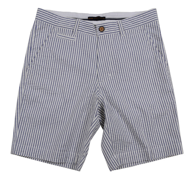 Seersucker Flat Front Short<br>Navy