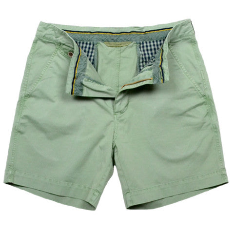 "Sunny Stretch Twill<br>Flat Front Short<br> Shale Green<br>7"" Inseam"