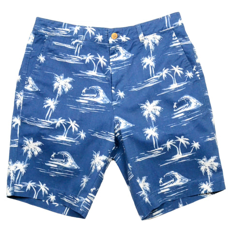Tropical Print Shorts<br>Navy