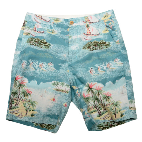 Tropical Print Shorts<br>Sky