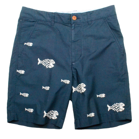 Engineered Print Short <br> Navy